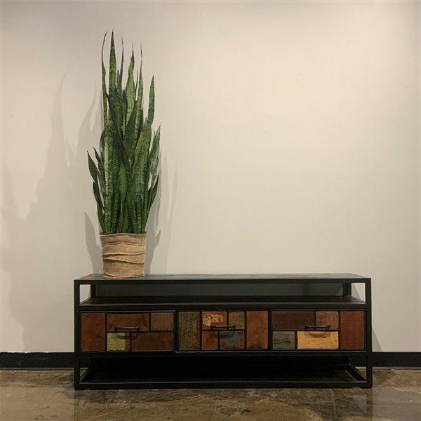 Meuble pour télévision rustique à 3 tiroirs Zen de Corcoran, 60 po x 22 po, bois recyclé