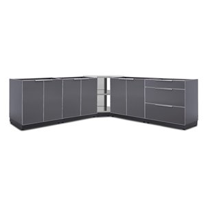 NewAge Products Outdoor Kitchen Modular Cabinet Set - Slate Grey -5-Piece