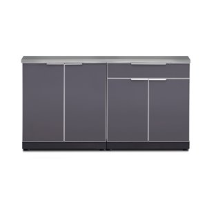 NewAge Products Outdoor Kitchen Modular Cabinet Set with Countertops - Slate Grey - 3-Piece