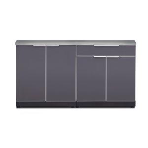 Cuisine extérieure modulaire avec comptoirs NewAge Products, gris ardoise, 3 pièces