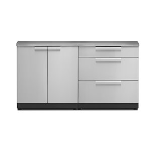 NewAge Products Outdoor Kitchen Modular 2-Door and 3-Drawer Cabinet Set with Countertop - Stainless Steel - 3-Piece