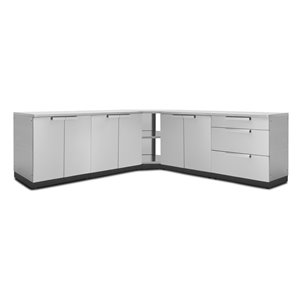 NewAge Products Outdoor Kitchen Modular Cabinet Set with Covers - Stainless Steel - 7-Piece