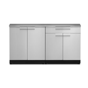 NewAge Products Outdoor Kitchen Modular Cabinet Set with Covers - Stainless Steel - 3-Piece