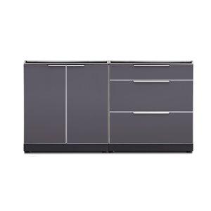 Cuisine extérieure modulaire à 2 portes et 3 tiroirs NewAge Products, gris ardoise, 2 pièces