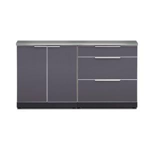 Cuisine extérieure modulaire avec comptoir NewAge Products, gris ardoise, 3 pièces