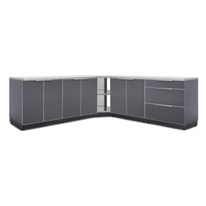 NewAge Products Outdoor Kitchen Cabinet Set Countertop and Covers - Slate Grey - 7-Piece