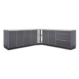 Armoires avec comptoirs et housses NewAge Products pour cuisine extérieure, gris ardoise, 7 pièces