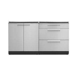 Cuisine extérieure modulaire à 2 portes et 3 tiroirs NewAge Products en acier inoxydable, 2 pièces