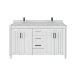 Meuble lavabo Jack de Spa Bathe simple, barre d'alimentation et organisateur de tiroir, blanc, 60 po
