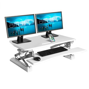 Vancouver Classics Airlift Height Adjustable Standing Desk Converter -   White - 35.4-in