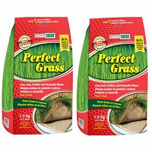 Mélange de graminées à pelouse, fertilisant et vermiculite Perfect Grass de Canada Green, 1,5 kg
