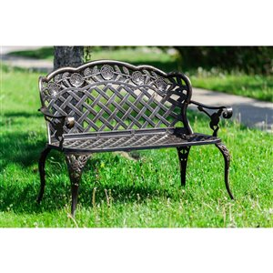 Hi-Line Gift24-in W x32.6-in L Conversation Bench - Bronze
