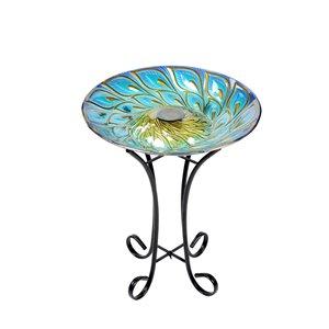 Hi-Line Gift 21-in H Glass Round Complete Birdbath - Blue/Gold
