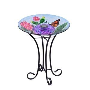 Hi-Line Gift 21-in H Glass Round Complete Birdbath - Green/Pink