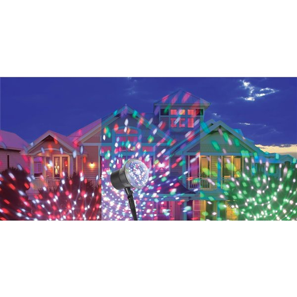 Hi-Line Gift Multi-Function LED Christmas Snowflakes Indoor/Outdoor Stake Light Projector - Red/Green/Blue/White