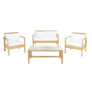 Safavieh Garnen Metal Frame Patio Conversation Set with Cushions - Natural/Off-White - 4-Piece
