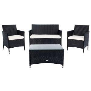 Safavieh Bandele Metal Frame Patio Conversation Set with Cushions - Black/Beige - 4-Piece