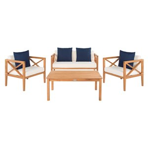 Safavieh Nunzio Wood Frame Patio Conversation Set with Cushions - Natural/Navy - 4-Piece