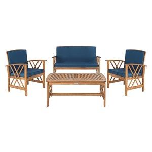 Safavieh Fontana Wood Frame Patio Conversation Set with Cushions - Natural/Navy - 4-Piece