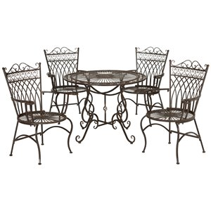 Safavieh Thessaly Outdoor Metal Frame Dining Set with Round Table - Rustic Brown - Set of 5