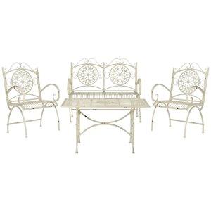 Safavieh Sophie Metal Frame Patio Conversation Set - Antique White - 4-Piece