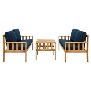 Safavieh Lardner Wood Frame Patio Conversation Set with Cushions - Natural/Navy - 3-Piece