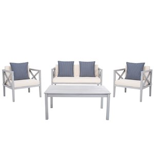 Safavieh Nunzio Wood Frame Patio Conversation Set with Cushions - Grey/Beige - 4-Piece