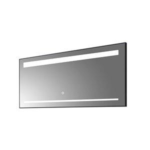 Miroir de salle de bain Sage à éclairage DEL de GEF, anti-buée, 60 po, rectangulaire, argent
