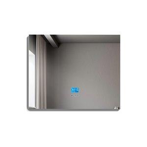Miroir de salle de bain Phoenix à éclairage DEL de GEF avec fonctions bluetooth, anti-buée, 36 po, rectangulaire, argent