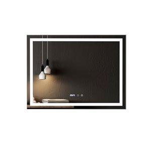 Miroir de salle de bain Phoenix à éclairage DEL de GEF avec affichage des fonctions, 38 po, rectangulaire, argent