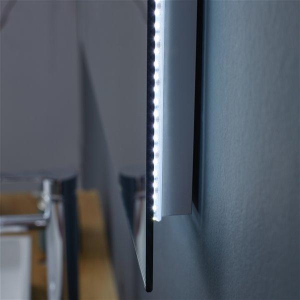 GEF Phoenix LED Bathroom Mirror with Bluetooth Function - Fog Free - 60-in - Rectangular - Silver