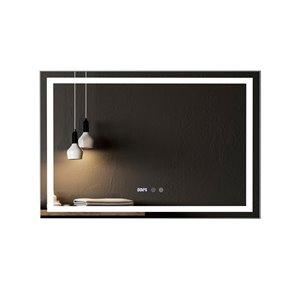 Miroir de salle de bain Phoenix à éclairage DEL de GEF avec affichage des fonctions, 43 po, rectangulaire, argent