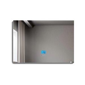 Miroir de salle de bain Phoenix à éclairage DEL de GEF avec fonctions bluetooth, anti-buée, 48 po, rectangulaire, argent