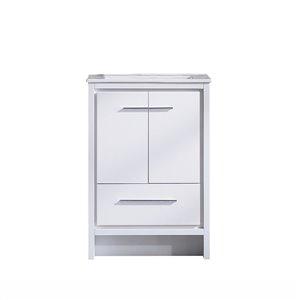 Meuble-lavabo simple blanc Abbey de GEF avec comptoir en céramique blanc, 24 po