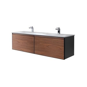 GEF Sage 60-in Double Sink Walnut Bathroom Vanity with White Solid Surface Top