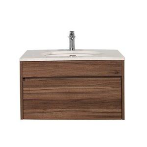 Meuble-lavabo simple noyer Lionna de GEF avec comptoir en quartz blanc et gris, 36 po