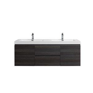 Meuble-lavabo double chêne vieilli Almere de GEF avec comptoir en acrylique blanc, 60 po