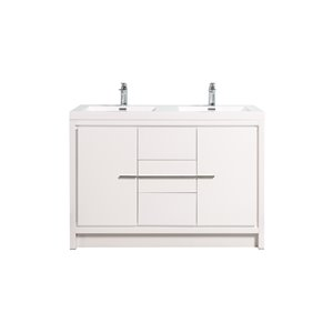 GEF Ember 48-in Double Sink White Bathroom Vanity with White Acrylic Top