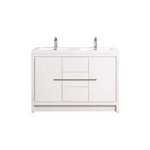 Meuble-lavabo double blanc Ember de GEF avec comptoir en acrylique blanc, 48 po