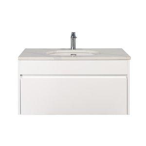 Meuble-lavabo simple blanc Lionna de GEF avec comptoir en quartz blanc et gris, 36 po