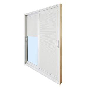 Porte-patio double en verre tempéré et vinyle par Dusco Doors (taille nominale: 60po x 80po ; réelle: 59,63po x 79,