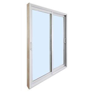Porte-patio double en vinyle et verre tempéré par Dusco Doors (taille nominale: 60po x 80po ; réelle: 59,63po x 79,