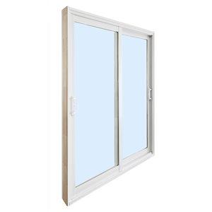 Porte-patio double en verre tempéré et vinyle par Dusco Doors (taille nominale: 72po x 80po ; réelle: 71,63po x 79,