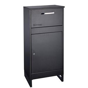 Homerun Smart & Safe Metal Ground Mount Lockable Mailbox- 14.56-in W x39.37-in H - Black