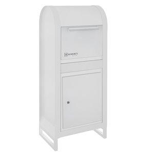 Homerun Smart & Safe Metal Ground Mount Lockable Mailbox- 12.99-in W x43.31-in H - White