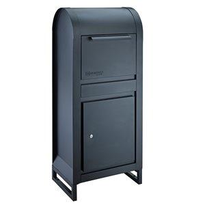 Homerun Smart & Safe Metal Ground Mount Lockable Mailbox- 12.99-in W x43.31-in H - Black