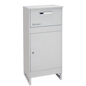 Homerun Smart & Safe Metal Ground Mount Lockable Mailbox- 14.56-in W x39.37-in H - White