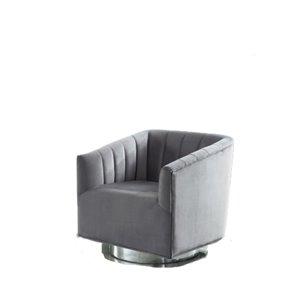 Chaise d'accent grise et moderne en velours de IH Casa Decor, lot de 1