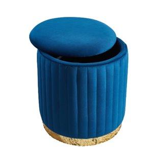 Ottomane ronde moderne en velours bleu et rangement de IH Casa Decor