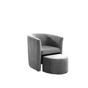 Chaise d'accent moderne en velours gris par IH Casa Decor, lot de 1